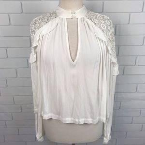 New Free people boho crop top white Victorian blou